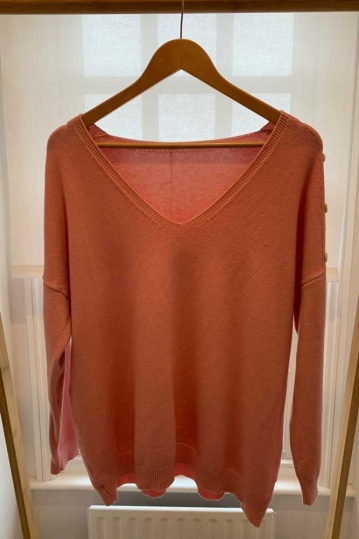 Button V Neck Button Sleeve Jumper in Pink