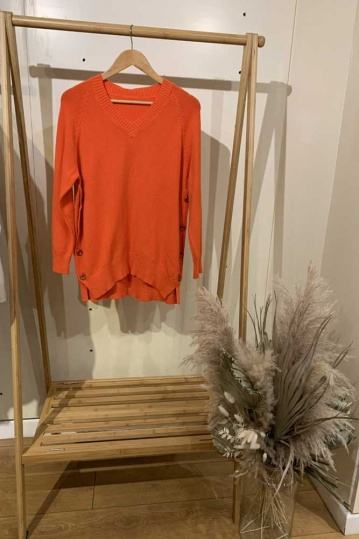 Button V Neck Orange Jumper