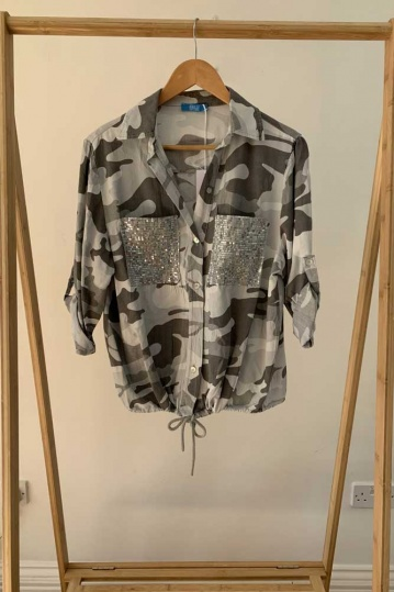 Camouflage Print Sequin Pocket Shirt in Grey