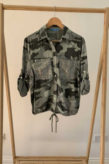 Camouflage Print Sequin Pocket Shirt