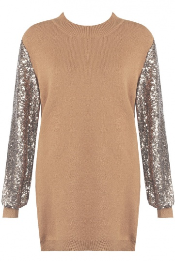 Candy Sequin Sleeve Jumper Dress in Camel