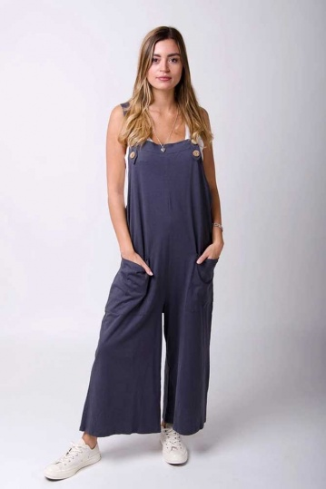 Button Trim Jersey Dungarees in Grey