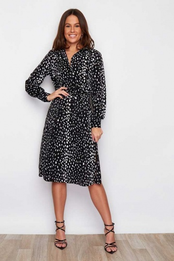 Clarice Tie Front Shirt Midi Dress