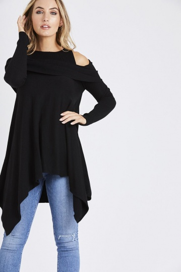 Cold Shoulder Ribbed Jumper in Black