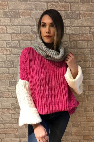 Zara  Colour Block Knitted Jumper in Pink