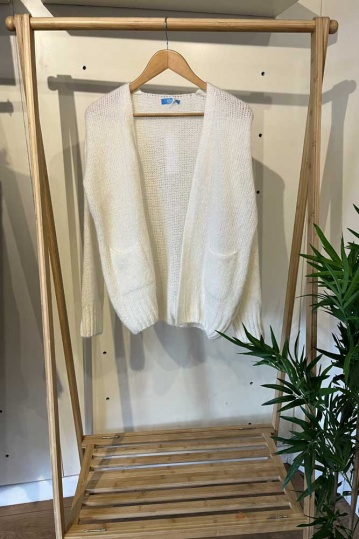 Queenie Tao Waterfall Midi Cardigan Light Grey