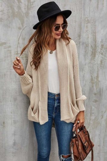 Queenie Hattie Pocket Cardigan in Beige