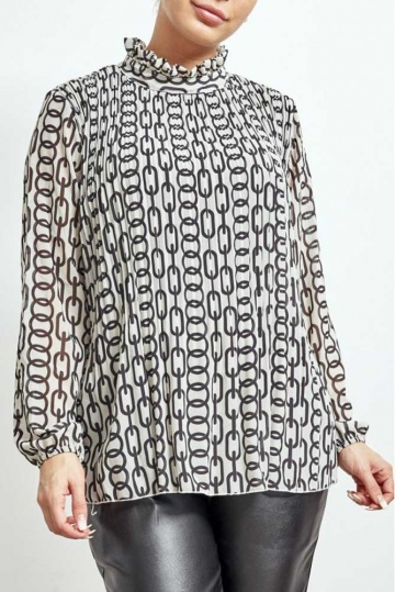 Chain Print Pleated Blouse
