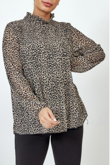 Leopard Print Pleated Blouse