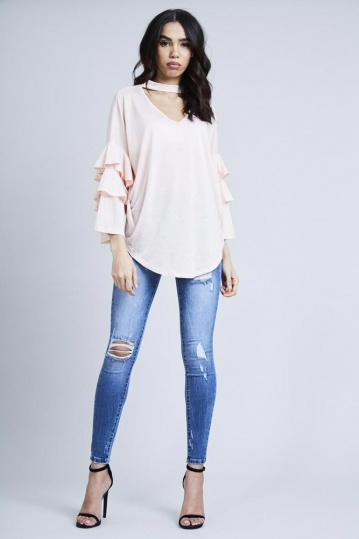 Frill Sleeve Choker Top in Pink