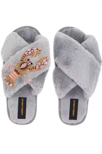 Laines  London Grey Lobster Brooch Slippers