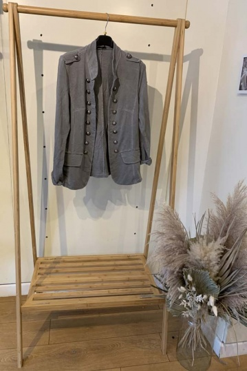 Silver Button Military Jacket in Grey