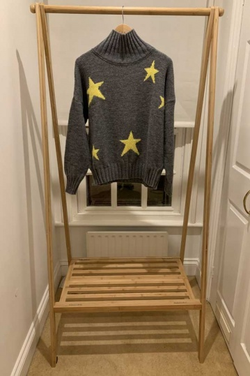 Yellow Star Jumper in Grey