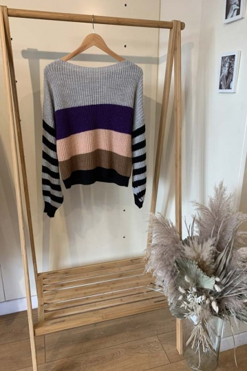 Charli Grey Stripe Jumper