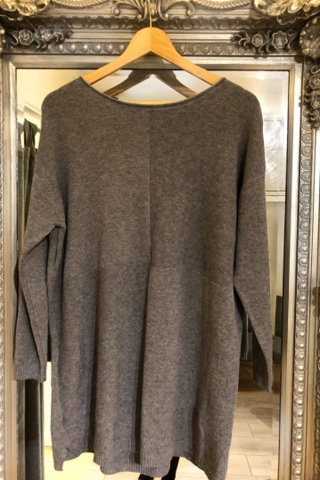 Knitted Tunic Jumper in Grey