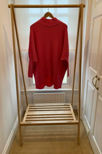 Hi Low Ribbed Jumper in Pink