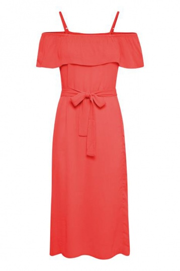 Ichi Marrakesh Dress in Solid Red