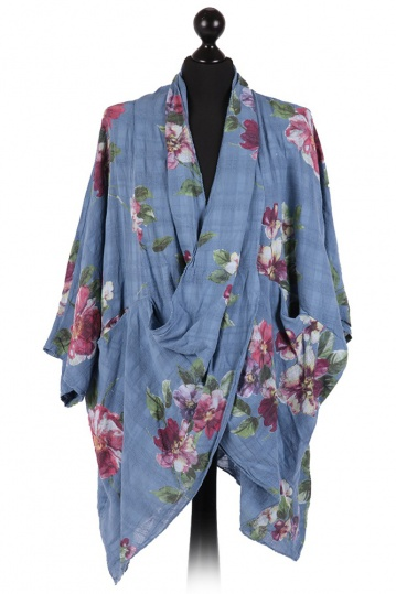 Wrap Over Floral Tunic in Denim Blue