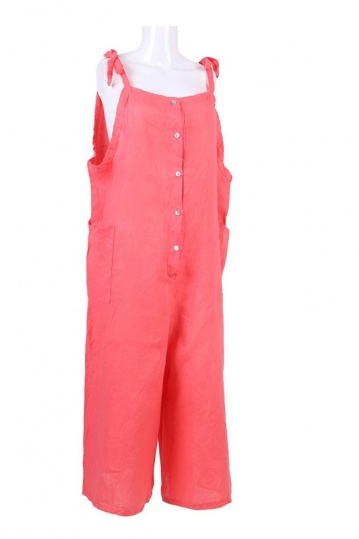 Linen Button Dungaree Jumpsuit in Coral