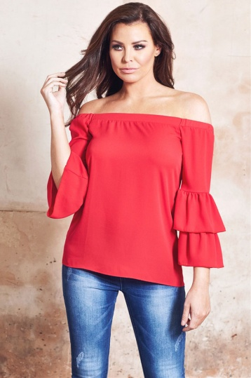 Jessica Wright Heloisa Red Off The Shoulder Top With Frilled Sleeves
