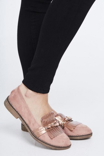 Jewelled Fringe Loafers in Rose Gold