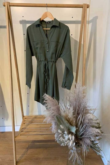 Macy Shirt Dress in Khaki