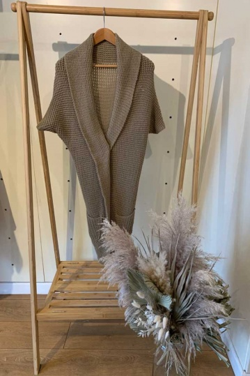 Knitted Wrap Cardigan in Beige