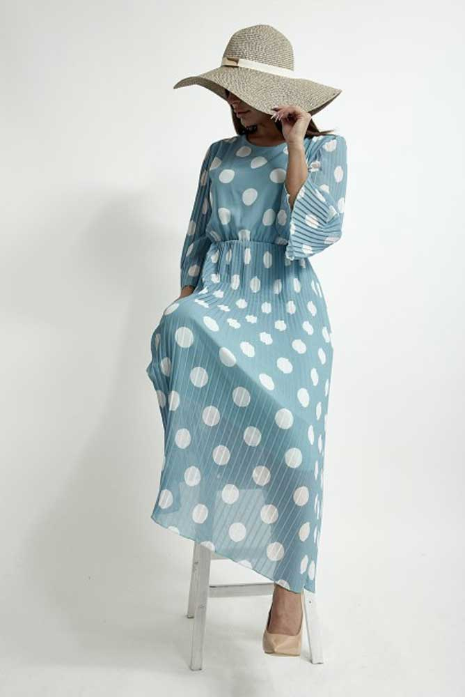 Turquoise Spotty Pleat Dress