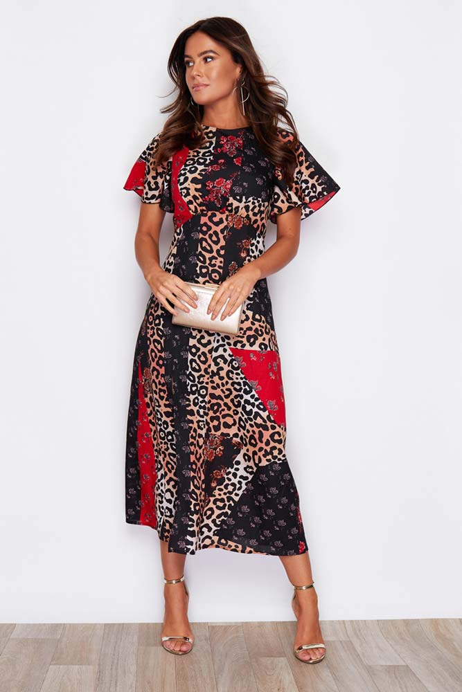 Angel Sleeve Printed Midi Dress