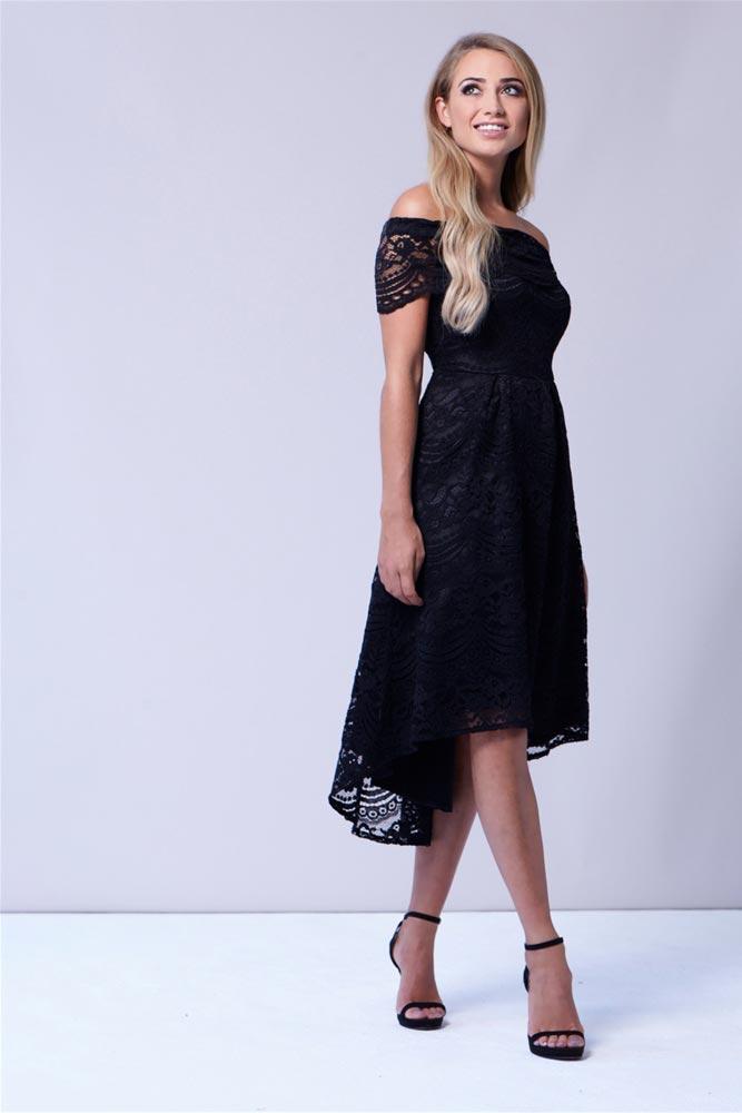 740a5a60bc9 Bracey Bardot Dip Hem Dress