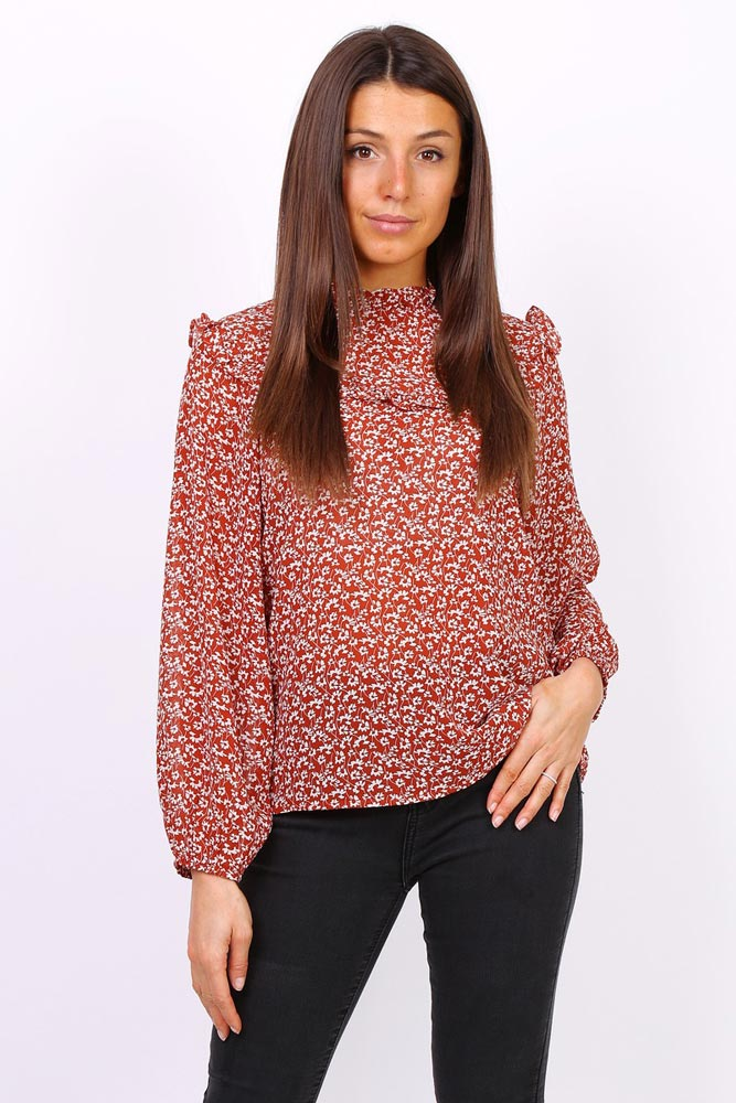 Polly Printed Frill Blouse