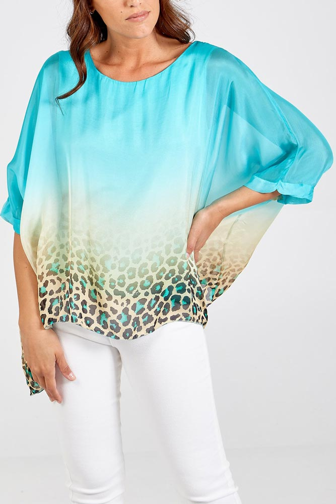 Shelby Dip Dye Silky Top in Teal