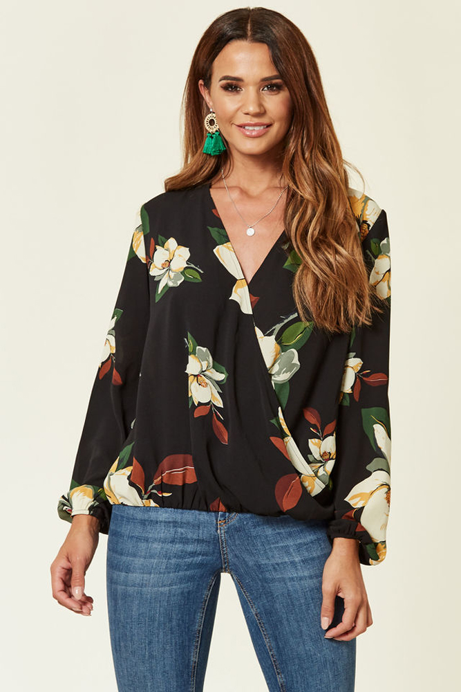 Lily Floral Wrap Over Blouse