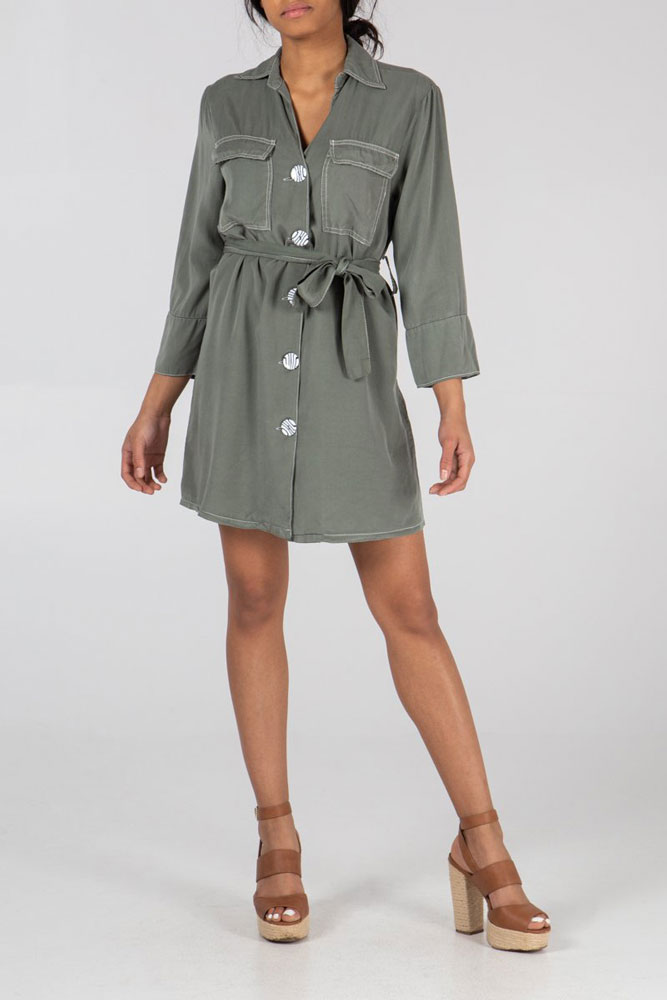 Lucy Button Shirt Dress in Khaki