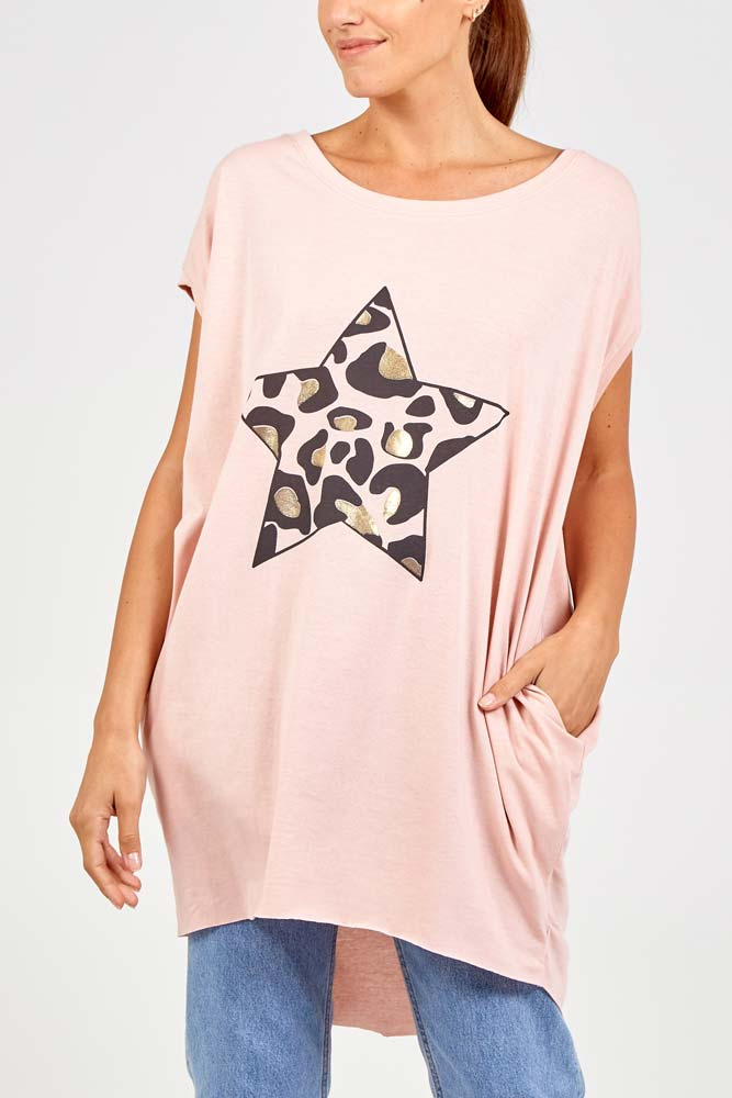 Foil Leo Star Top in Pink
