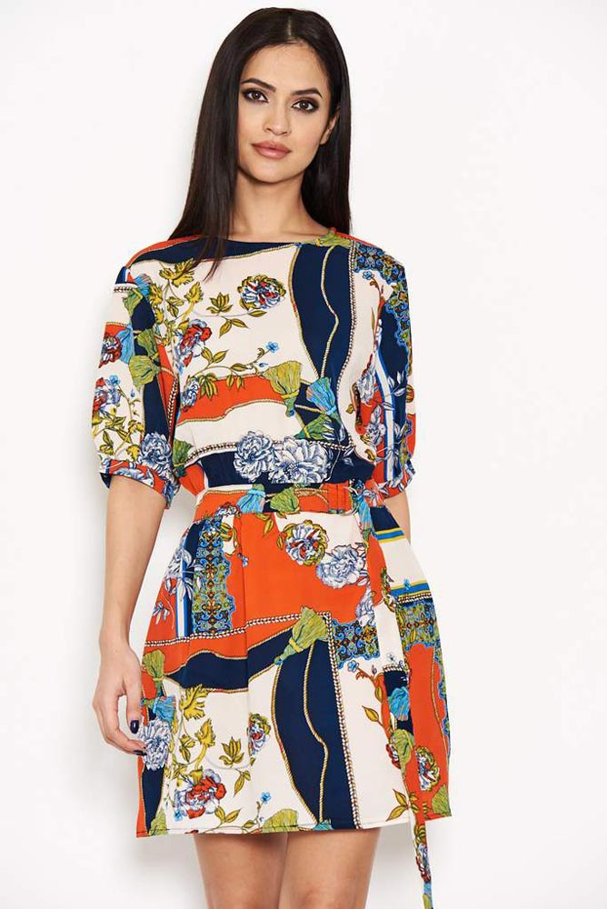 Cavalli Printed Tie Belt Dress