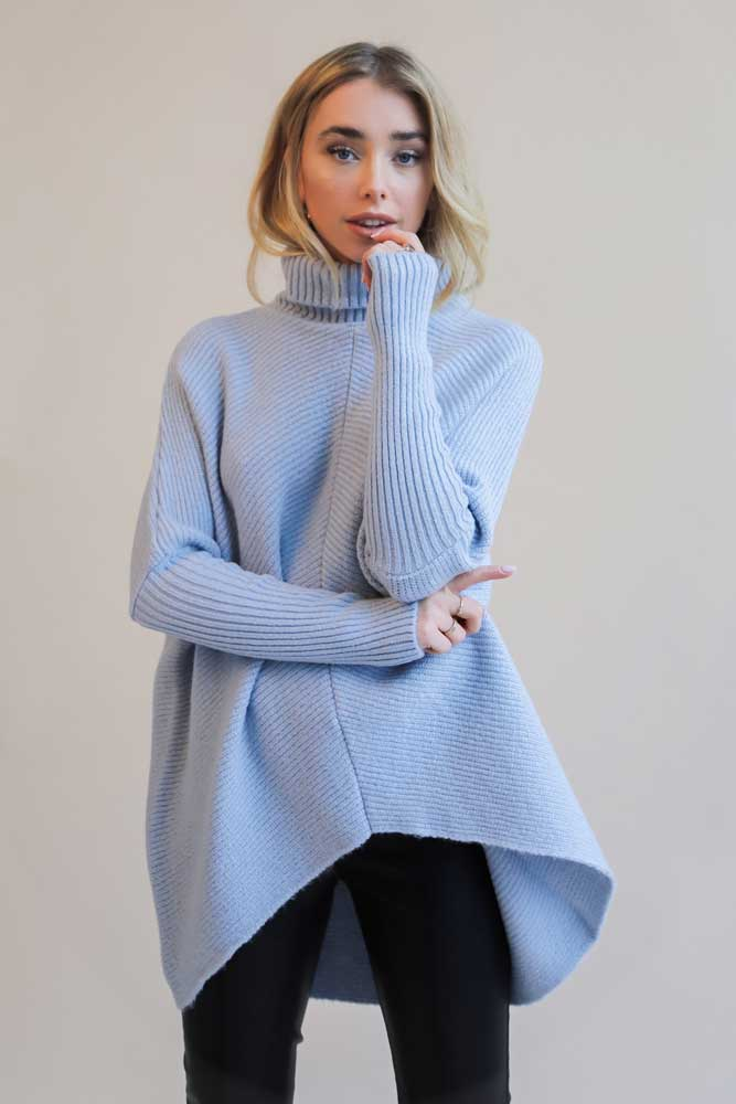 Lavish Callie Knit Jumper in Blue