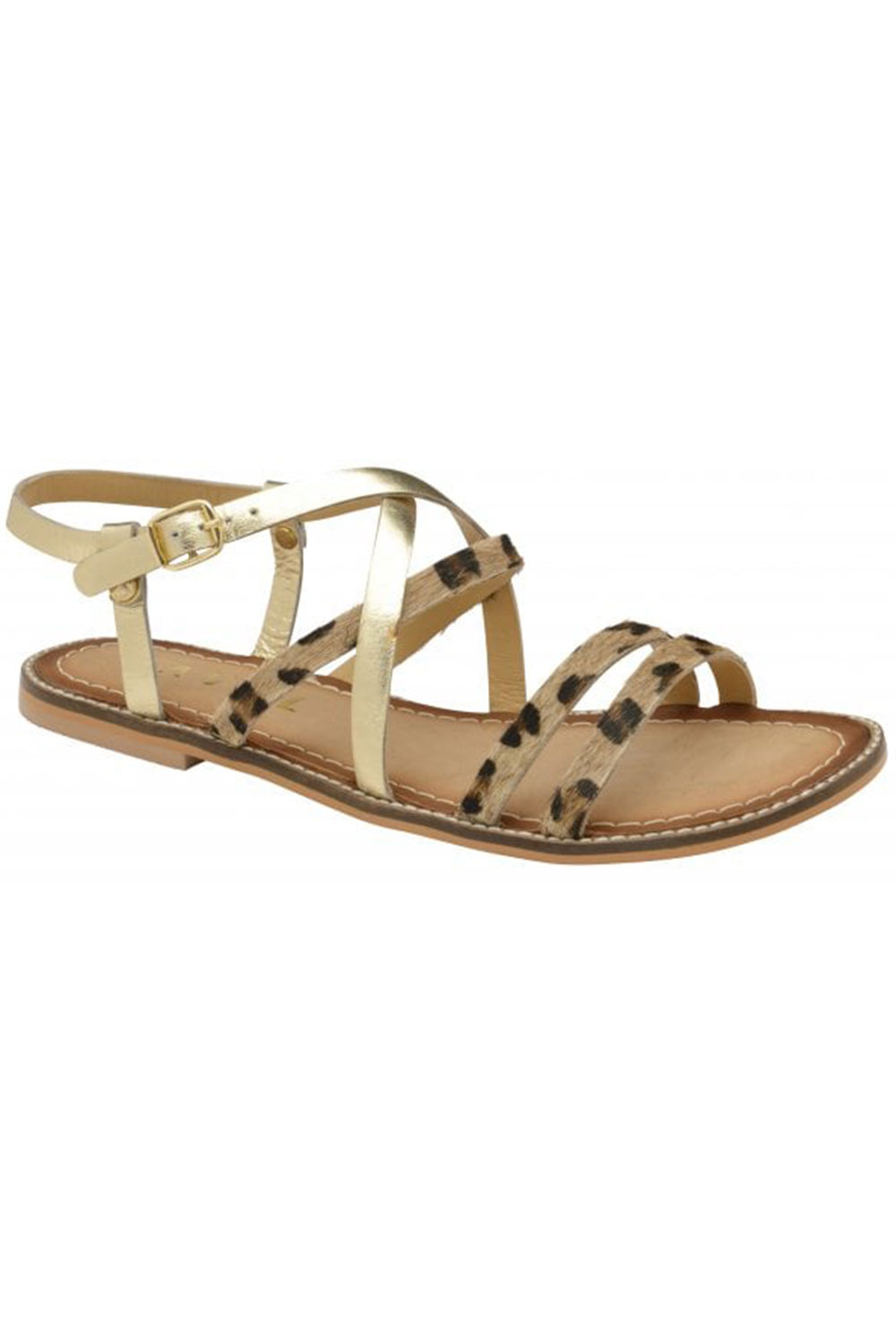 Ravel Leopard Manatee Leather Flat Sandals