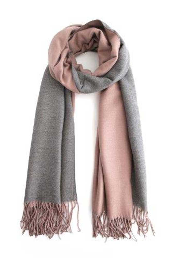Two Tone Winter Scarf in Pink