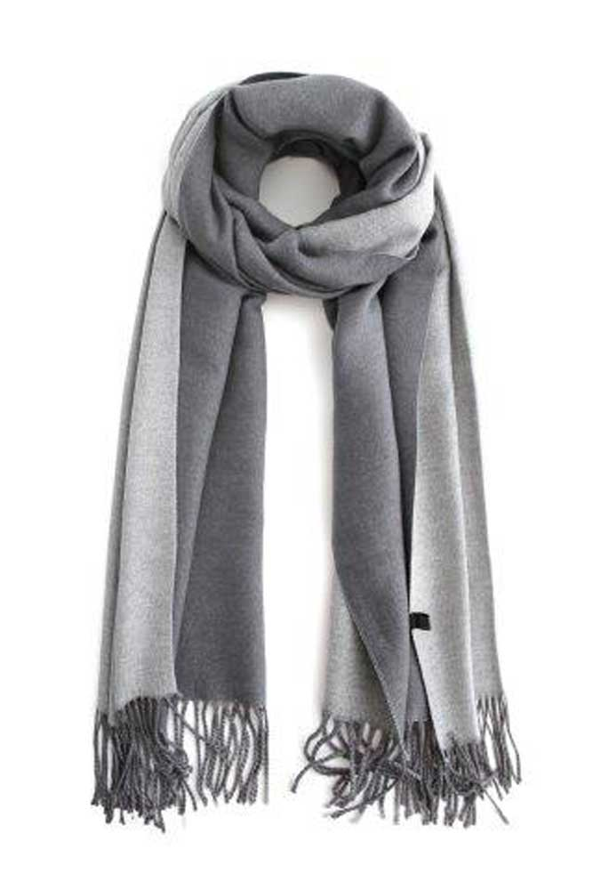 Two Tone Winter Scarf in Grey