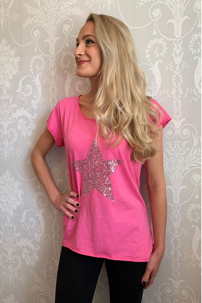 Sequin Star Tshirt in Pink