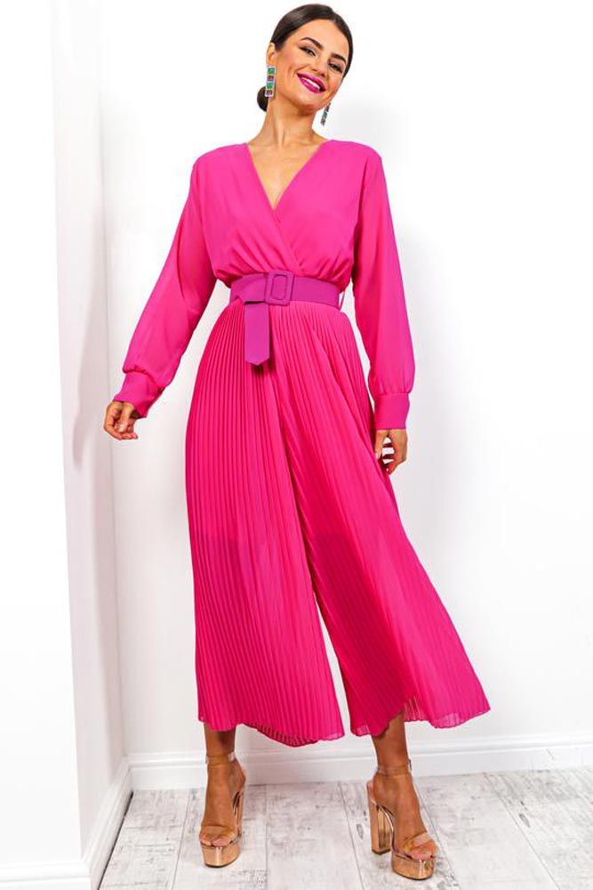 Crossover Pleated Jumpsuit in Pink
