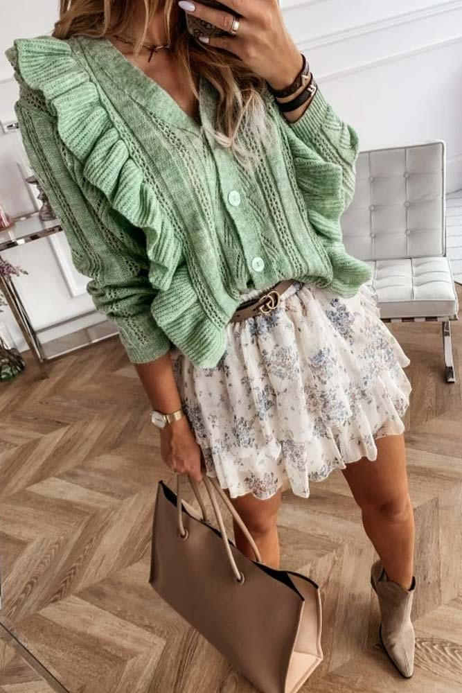 Tilly Frill Cardi Top in Mint Green