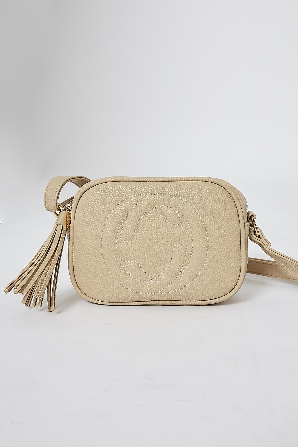 Faux Leather Crossbody Bag in Beige