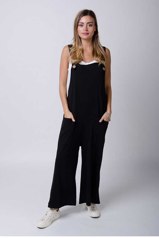 Button Trim Jersey Dungarees in Black