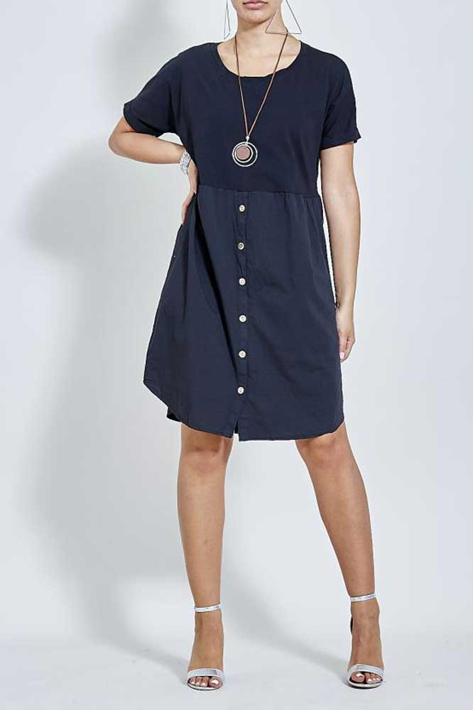 Necklace Button Tunic Dress in Black