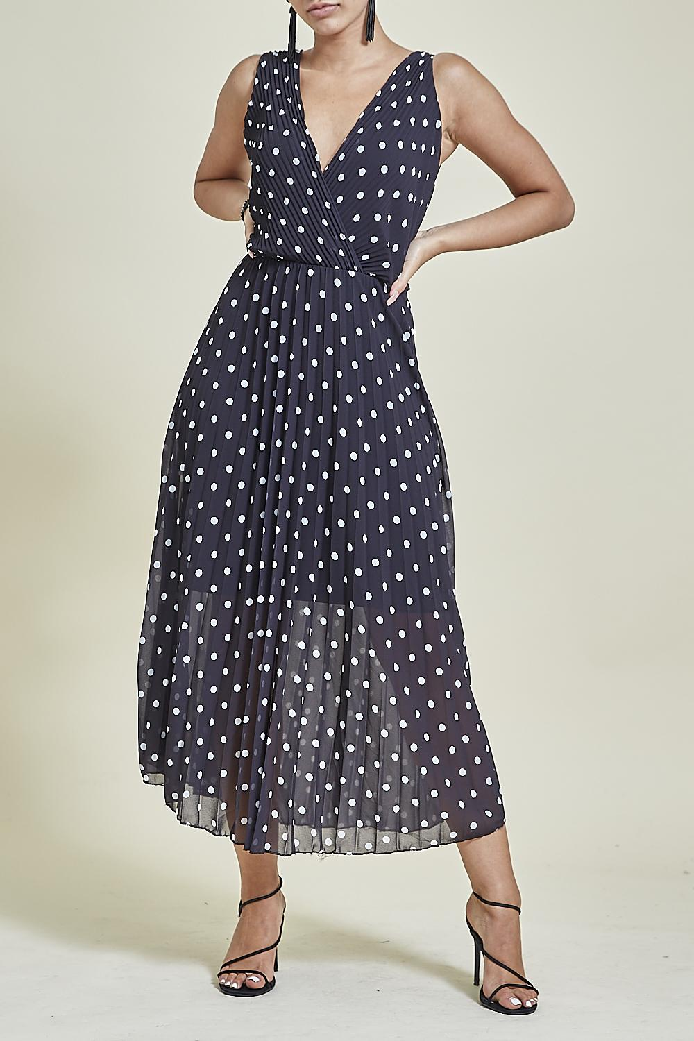 Polka Dot Pleated Midi Dress Black