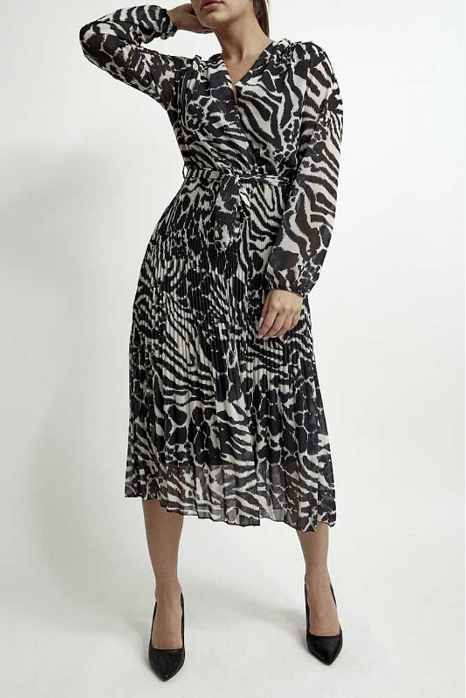Crossover Monochrome Pleated Midi Dress