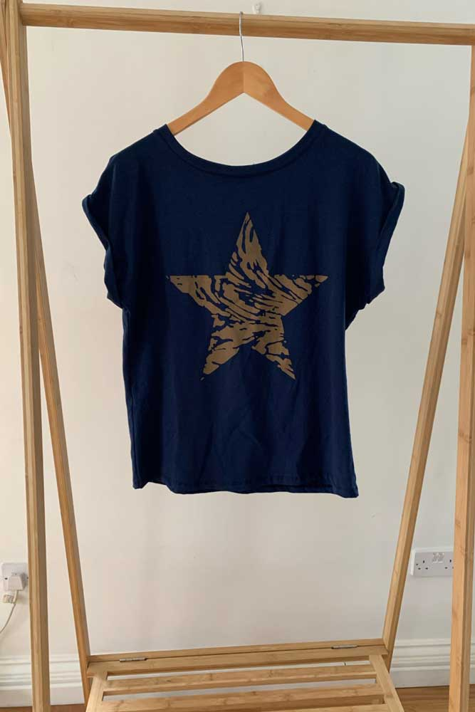 Brown Star Tshirt in Navy