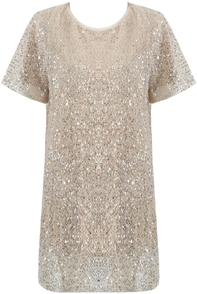 Carrie Sequin Shift Dress in Beige